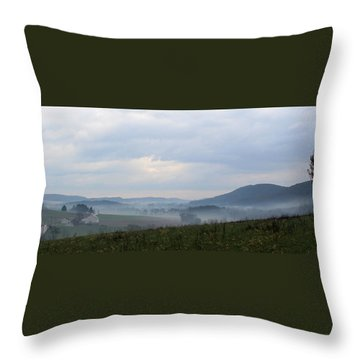 Foggy Morning In The Valley Throw Pillow by Liz Allyn