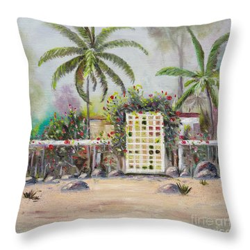 Throw Pillow featuring the painting Foggy Morning by Mary Scott