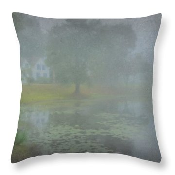 Foggy Morning On Pond Street Throw Pillow