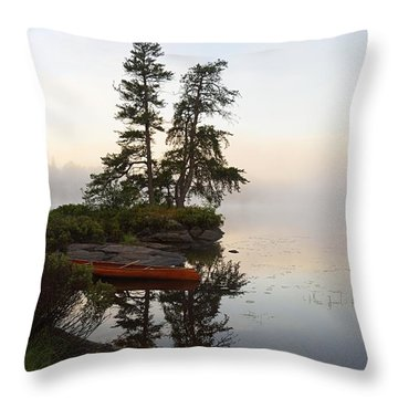 Foggy Morning On The Kawishiwi River Throw Pillow