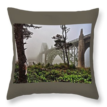 A Foggy Morning On Yaquina Bay Throw Pillow
