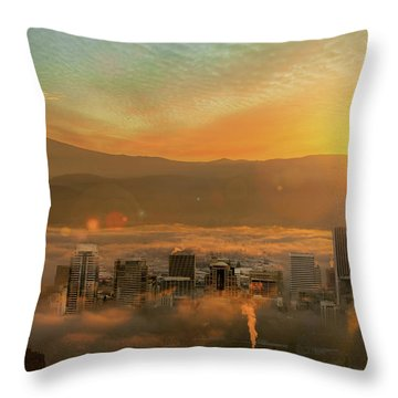 Foggy Morning Over Portland Cityscape During Sunrise Throw Pillow by David Gn