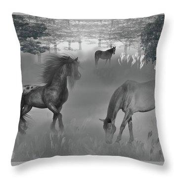 Foggy Morning Pasture Throw Pillow