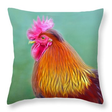 Foggy Morning Rooster Throw Pillow by Marion Johnson
