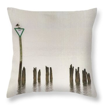 Throw Pillow featuring the photograph Foggy Morning Texture Keyport Harbor by Gary Slawsky