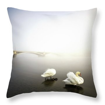 Foggy Morning View Near Bridge With Two Swans At Vltava River, Prague, Czech Republic Throw Pillow