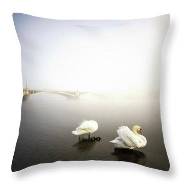 Foggy Morning View Near Bridge With Two Swans At Vltava River, Prague, Czech Republic Throw Pillow