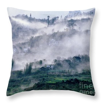 Foggy Mountain Of Sa Pa In Vietnam Throw Pillow