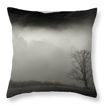 Foggy Mountain-tennessee Throw Pillow