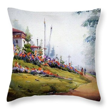 Throw Pillow featuring the painting Foggy Mountain Village by Samiran Sarkar