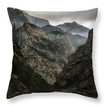 Foggy Mountains Over Neretva Gorge Throw Pillow