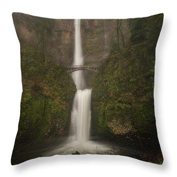 Foggy Multnomah Falls Throw Pillow