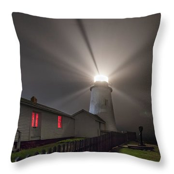 Foggy Night At Pemaquid Point Lighthouse Throw Pillow