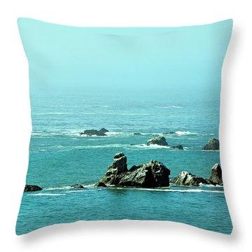 Sunny Blue Pacific Ocean Along The Oregon Coast Throw Pillow
