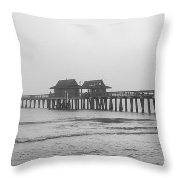 Foggy Pier Throw Pillow