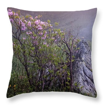 Foggy Pink Azalea Throw Pillow