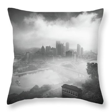 Throw Pillow featuring the photograph Foggy Pittsburgh  by Emmanuel Panagiotakis