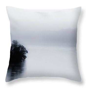Foggy River Throw Pillow by Bill Cannon