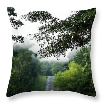 Throw Pillow featuring the photograph Foggy Road To Eternity  by Shelby Young