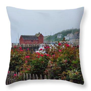 Foggy Roses Throw Pillow