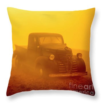 Foggy Sunrise Old Truck Throw Pillow