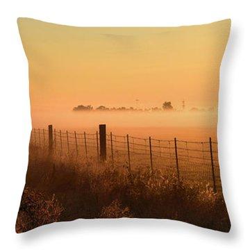 Foggy Sunrise On Hawkins Rd Throw Pillow