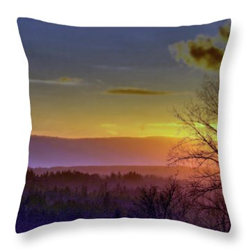 Foggy Sunset Throw Pillow