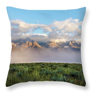 Foggy Teton Sunrise - Grand Tetons National Park Wyoming Throw Pillow