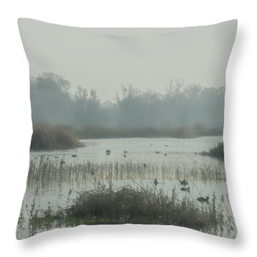 Foggy Wetlands Throw Pillow