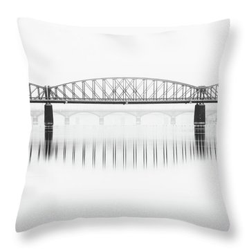 Foggy Winter Mood At Vltava River. Reflection Of Bridges In Water. Black And White Atmosphere, Prague, Czech Republic Throw Pillow