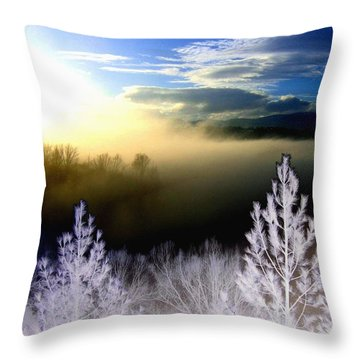 Foggy Winter Sunset Throw Pillow by Will Borden