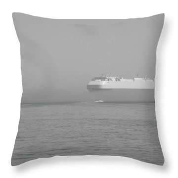 Fogs Floating Barge Throw Pillow by WaLdEmAr BoRrErO