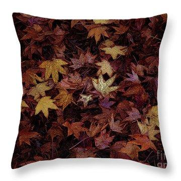 Foil Leaves Throw Pillow by Robert Ball