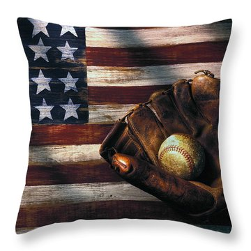 Folk Art American Flag And Baseball Mitt Throw Pillow by Garry Gay