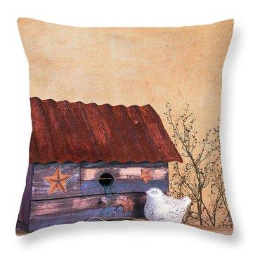 Folk Art Birdhouse Still Life Throw Pillow