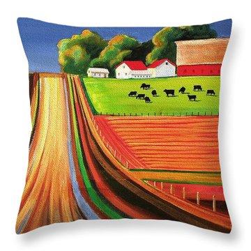 Folk Art Farm Throw Pillow by Toni Grote