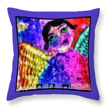 Folk Art Happy Birthday Angel Throw Pillow
