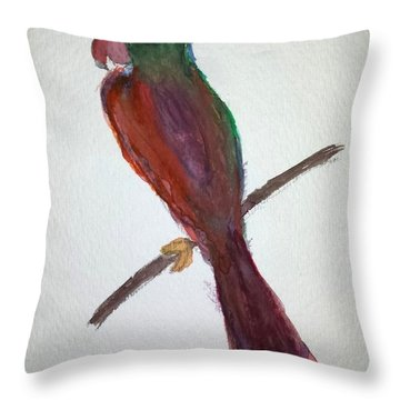 Folk Art Parrot Throw Pillow