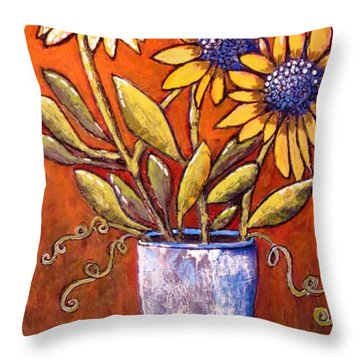 Folk Art Sunflowers Throw Pillow by Suzanne Theis