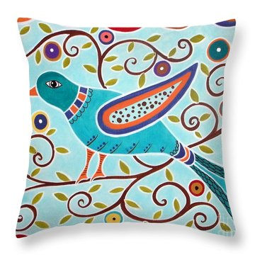 Folk Bird Throw Pillow by Karla Gerard