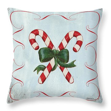Folk Candy Cane Throw Pillow by Debbie DeWitt
