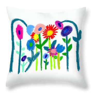 Throw Pillow featuring the pastel Folk Garden by Bee-Bee Deigner