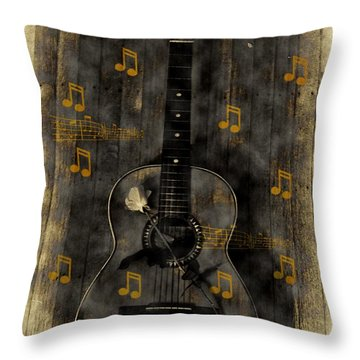 Folk Guitar Throw Pillow by Bill Cannon