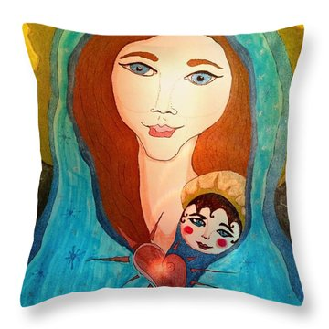 Folk Mother And Child Throw Pillow