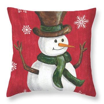 Folk Snowman Throw Pillow