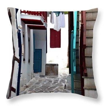 Follow The Cat In Mykonos Throw Pillow