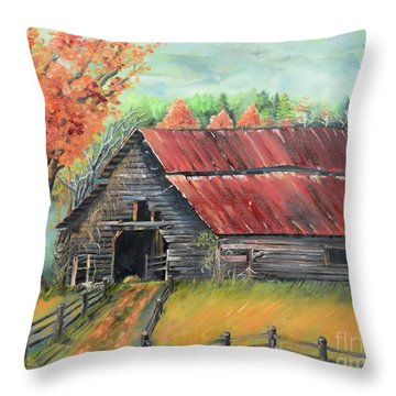 Throw Pillow featuring the painting Follow The Lantern - Early Morning Barn- Anne's Barn by Jan Dappen