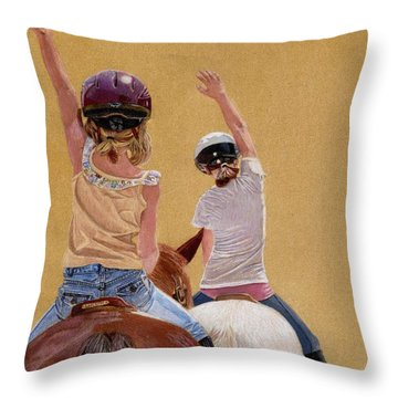 Follow The Leader - Horseback Riding Lesson Painting Throw Pillow by Patricia Barmatz