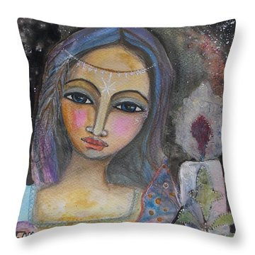 Throw Pillow featuring the painting Follow The Light by Prerna Poojara