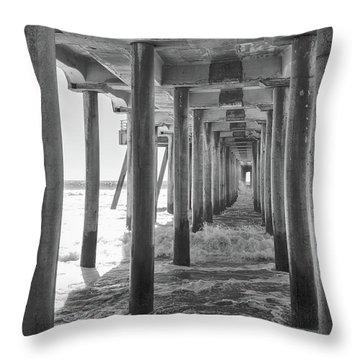 Throw Pillow featuring the photograph Follow The Lines Under Huntington Beach Pier by Ana V Ramirez